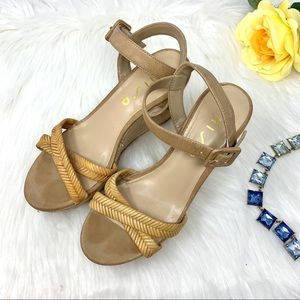 Unisa Tan Rope Strapy Wedges Size 7.5